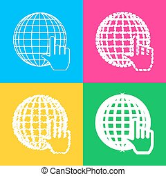Earth Globe with cursor. Four styles of icon on four color squares.