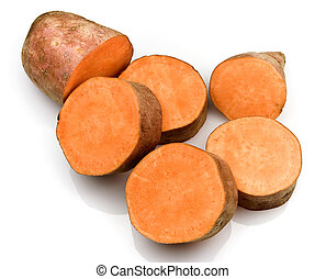 Sweet potatoes - Cuts of an orange sweet potato on a white...