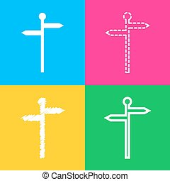 Direction road sign. Four styles of icon on four color squares.