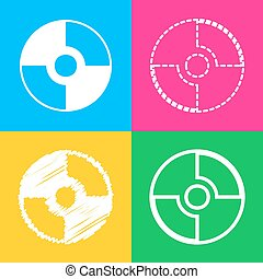 Vector CD or DVD sign. Four styles of icon on four color...