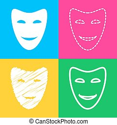 Comedy theatrical masks. Four styles of icon on four color...