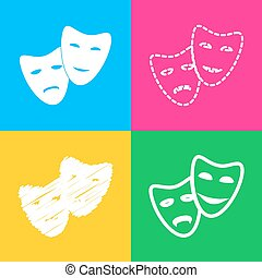 Theater icon with happy and sad masks. Four styles of icon...
