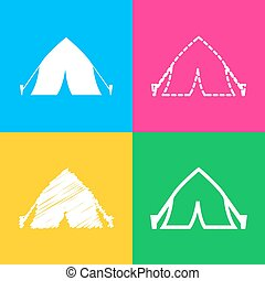 Tourist tent sign. Four styles of icon on four color squares.