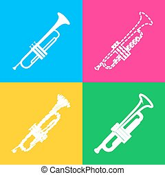 Musical instrument Trumpet sign. Four styles of icon on four...