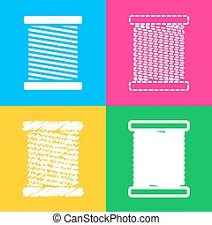 Thread sign illustration. Four styles of icon on four color squares.