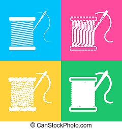 Thread with needle sign illustration. Four styles of icon on...
