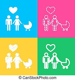 Family symbol with pram and heart. Husband and wife are kept each other`s hands. Love. Four styles of icon on four color squares.