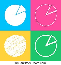 Finance graph sign. Four styles of icon on four color...
