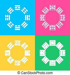 Bagua sign. Four styles of icon on four color squares.
