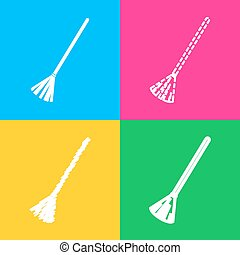 Sweeping broom sign. Four styles of icon on four color squares.