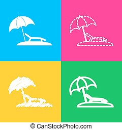 Tropical resort beach. Sunbed Chair sign. Four styles of...