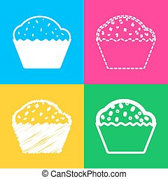 Cupcake sign. Four styles of icon on four color squares.