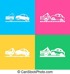 Tow truck sign. Four styles of icon on four color squares.