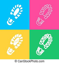 Footprint boot sign. Four styles of icon on four color...