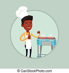 Man cooking steak on gas barbecue grill.