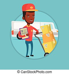 Delivery man with cardboard boxes. - African delivery man...