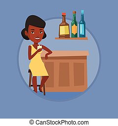Woman sitting at the bar counter.