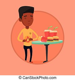 Man suffering from heartburn vector illustration.