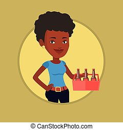 Woman with pack of beer vector illustration.