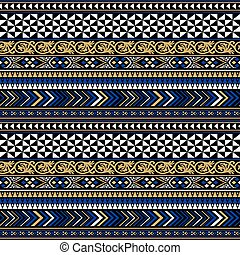 Vector black colorful tribal seamless pattern