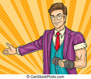 Pop art man invites you to the opening gym - illustration of...