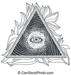 Vector tattoo illustration abstract sacred geometry with an...