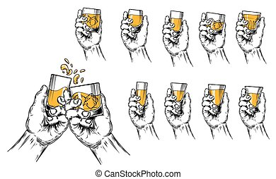 Vector illustration of two hands raised stemware and a set...