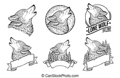 Set vector illustrations of a howling wolves
