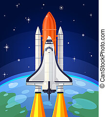 illustration of a space rocket launch. Space travel to the...