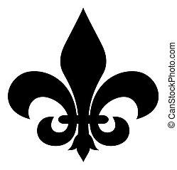 Fleur-de-lis - Black silhouetted of Fleur-de-lis symbol,...