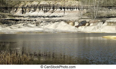 Industrial Mining Abandoned Pit With Erosion and Leaching -...