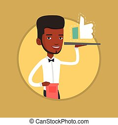 Waiter with like button vector illustration. -...