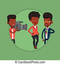 TV interview vector illustration. - Reporter with microphone...