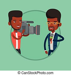 TV reporter and operator vector illustration. - African...