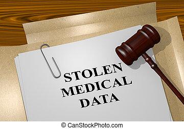 Stolen Medical Data - legal concept - 3D illustration of...