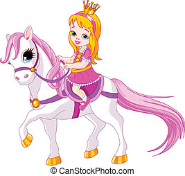 Little princess on horse - Cute little princess riding on a...