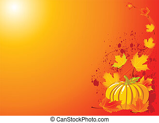 Autumn Pumpkin Background - Autumn Pumpkin and leaves -...