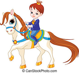 Little prince on horse - Cute little prince riding on a...