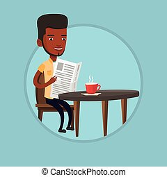 Man reading newspaper and drinking coffee. - African man...