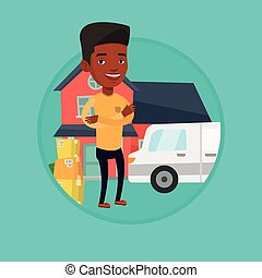 Man moving to house vector illustration. - African-american...