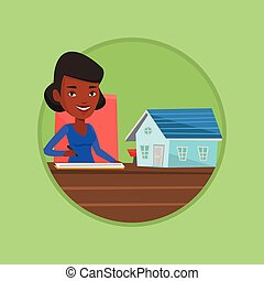Real estate agent signing contract. - Real estate agent...