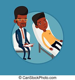 Psychologist having session with patient. - African patient...