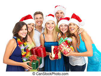 Happy people - Happy funny people Christmas Party Isolated...