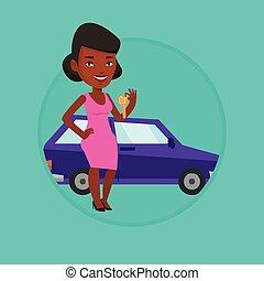 Woman holding keys to her new car. - African-american woman...
