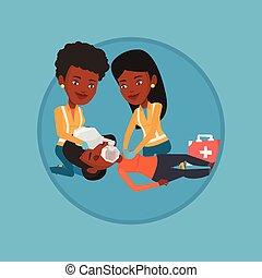 Paramedics doing cardiopulmonary resuscitation - African...