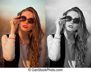 Very awesome, excellent, beautiful, attractive, snorting, stunning, fashionable, glamorous, cheerful, adorable, delightful girl with sunglasses, red lips, white teeth.