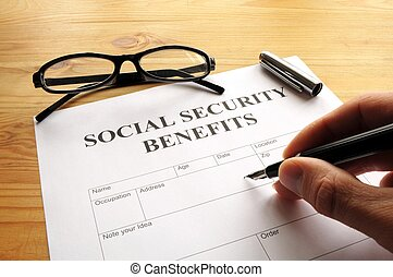 social security benefits form showing financial concept in...