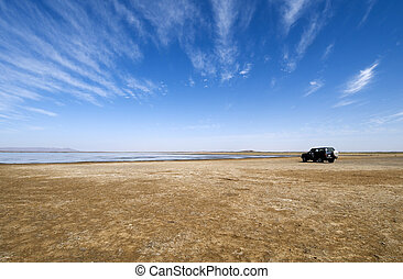 Water in the desert - Lake in the Sahara desert with a...