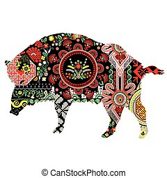 Wild boar with patterns - Boar is richly decorated with...