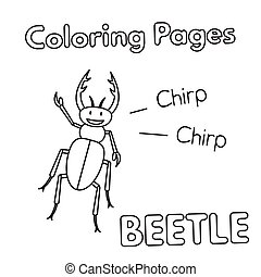 Cartoon Beetle Coloring Book